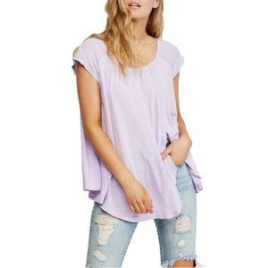Free People Keep it Casual Flowy Tee, Lilac Fields